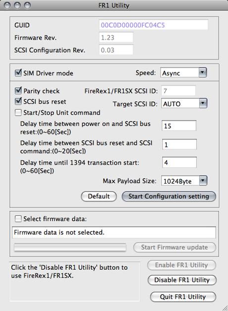 Capture d'écran du paramétrage de l'adaptateur Ratoc FR1SX